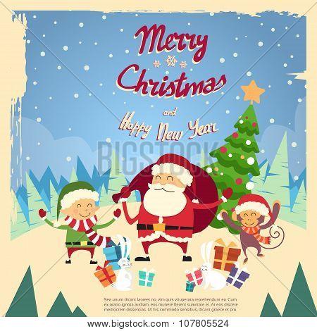 Santa Clause Elf Monkey Cartoon Character Winter Tree Snow Forest