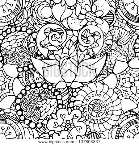 Seamless Contour Floral Pattern