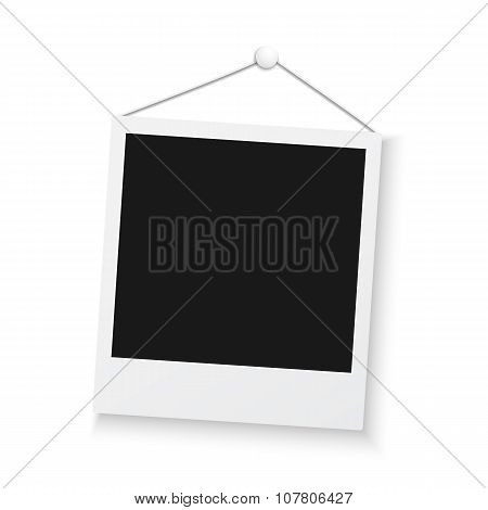 Vintage Photo Frame Sticked to Wall Isolated on White Background