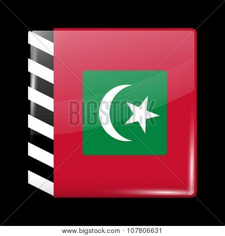 Maldives Variant Flag. Glassy Icon Square Shape