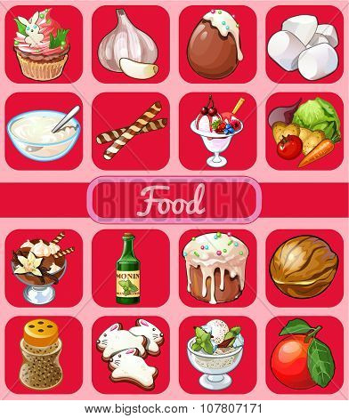 Big food set of 16 icons on a pink background