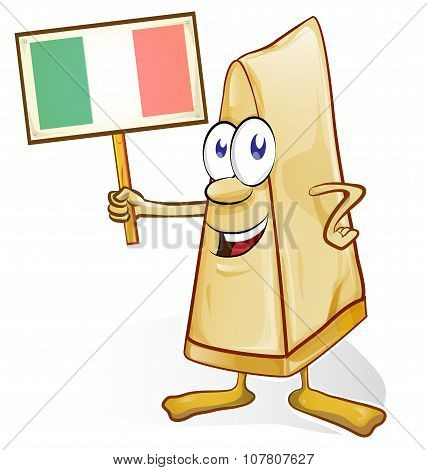 italian cheese cartoon with signboard