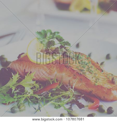 Grilled Salmon Fillet With Vegetables Glass Of White Wine Concept