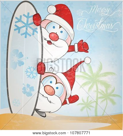Fun Santa Claus Cartoon With Surfboard