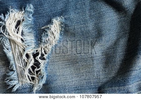 Denim Jeans With Old Torn Of Fashion Jeans Design
