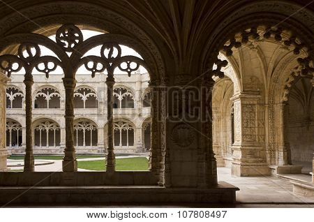 Decorated Cloister Arches In Jeronimos Monastery