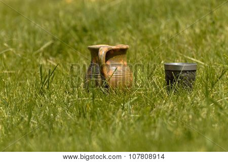 Decorative Clay Pot In The Grass