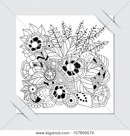 Stock Vector Paper Cut With Floral Pattern.black And White Background.