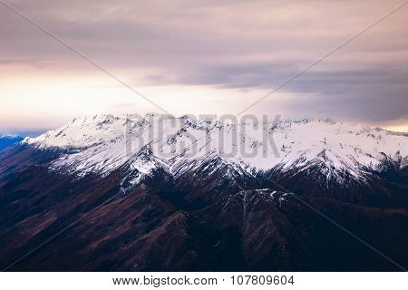 Aerial View Landscape Of Snow Mountain In Winter Season Queen Town New Zealand