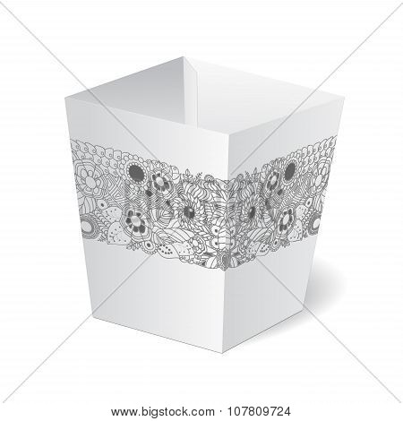 Cardboard Package Isolated Box With Floral Pattern On The White Background. Mock Up, Template. Stock
