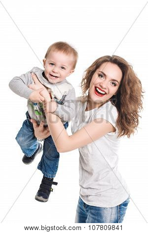 Happy family of mother and son smiling looking at camera isolated on white background