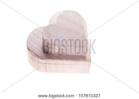 Heart Wood Box Of Love Isolated On White Background