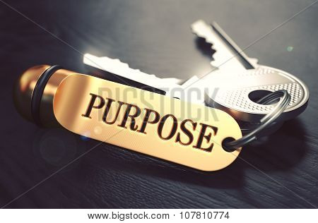 Purpose - Bunch of Keys with Text on Golden Keychain.