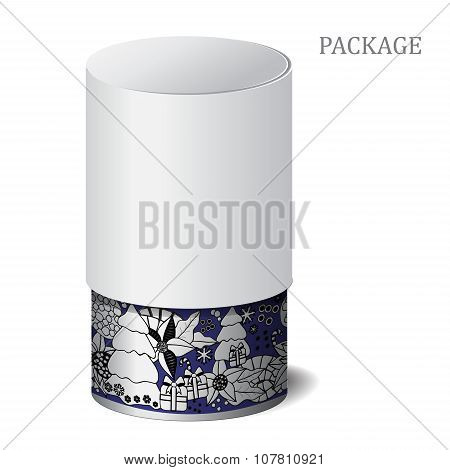 Cardboard Package Isolated Box On The White Background. Mock Up, Template. Stock Vector. Winter Bord
