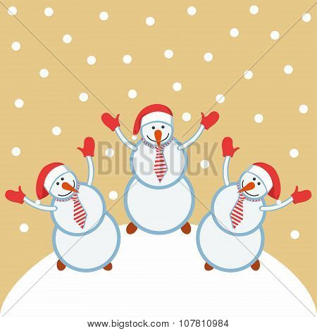 Three funny snowmen happy