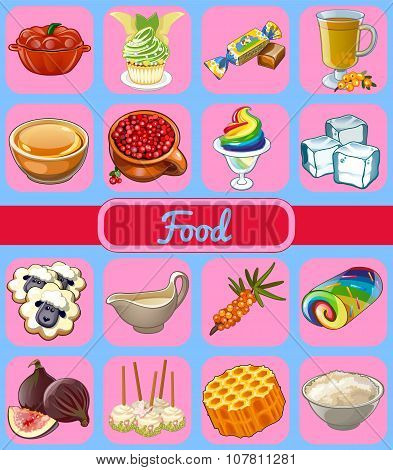 Collection of vector icons food on a pink background