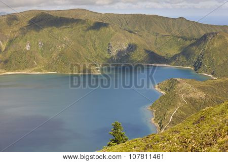 Azores Landscape With Lake And Ocean In Sao Miguel, Azores