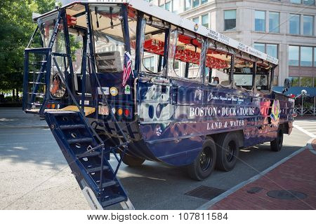 USA, BOSTON - 05 SEP, 2014: Amphibia car is standing on the road at summer day.