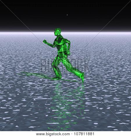 Strange alien running on water