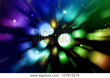 Colorful rainbow background with bokeh in motion zoom blur style