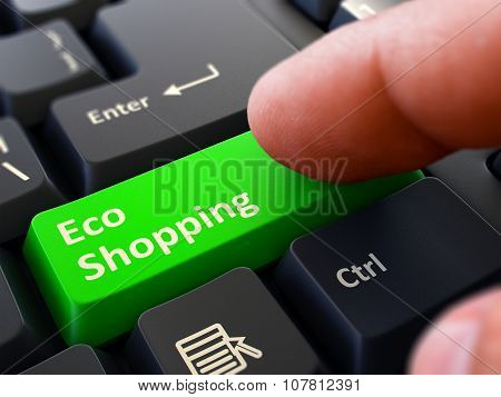 Eco Shopping Concept. Person Click Keyboard Button.