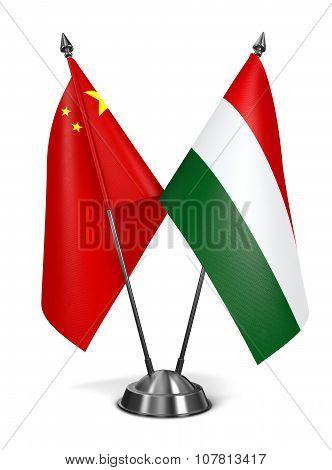 China and Hungary - Miniature Flags.