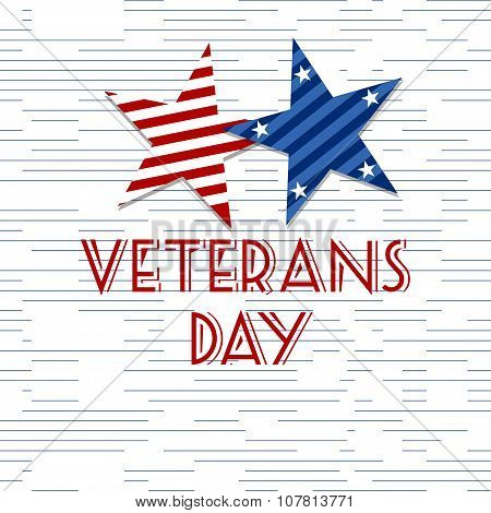 Stars with U.S.A Flag in style vector. Creative Abstract Happy Veterans Day,  Independence Day