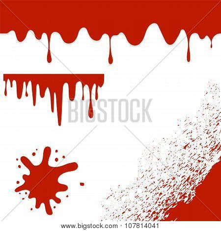 Set of Blood Blots Isolated on White Background