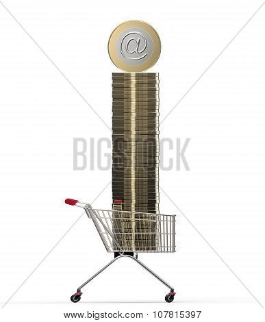 Shopping Cart With Internet Coin Isolated On White