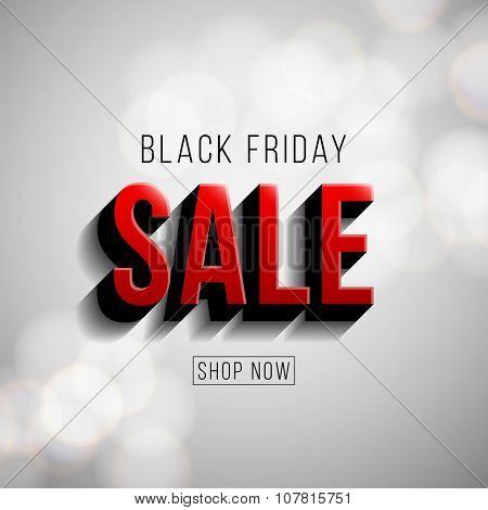 Black Friday sale illustration. Modern style vector design on bokeh background.