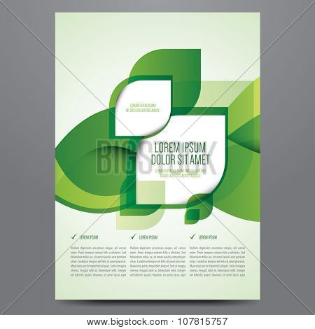 Vector business flyer, poster, brochure, magazine cover template. Modern green leaf, environment design.