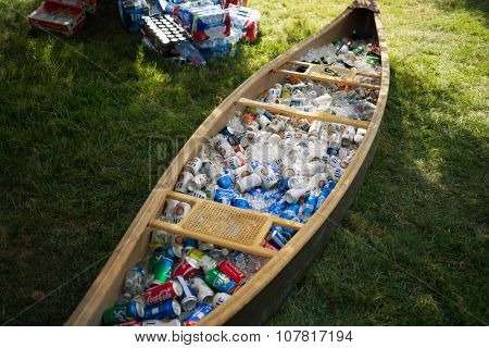 USA, NEW-YORK - AUG 31, 2014: Many different beverages into canoe.