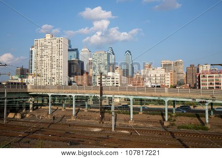 USA, PHILADELPHIA - 03 SEP, 2014: Cityscape with Locust Point and skyscrapers, railway at autumn day.