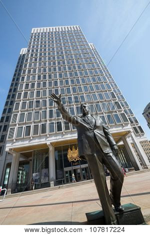 USA, PHILADELPHIA - SEP 02, 2014: Statue of former Mayor Frank Rizzo near Municipal services building.