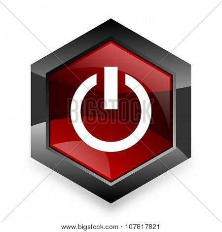power red hexagon 3d modern design icon on white background