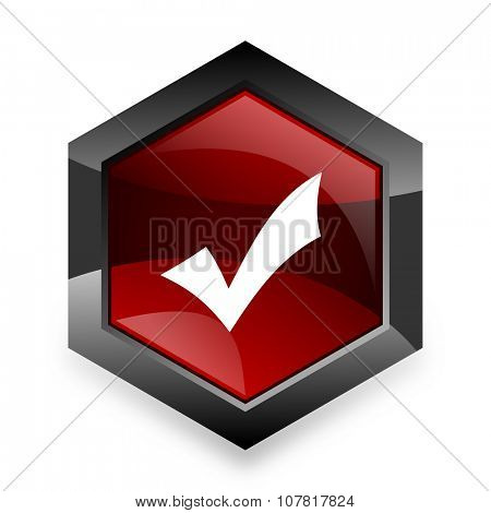 accept red hexagon 3d modern design icon on white background