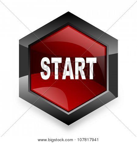 start red hexagon 3d modern design icon on white background
