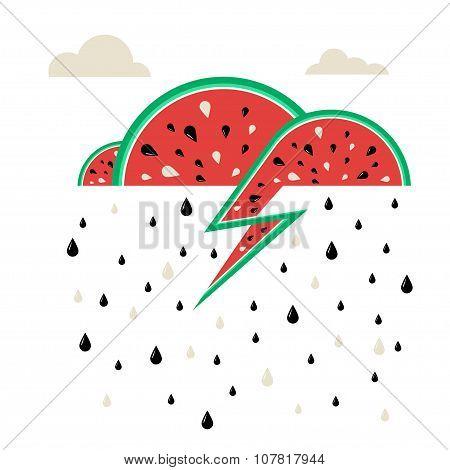 Design Illustration Concepts Watermelon Rain. Summer. Vector Illustration. Concepts Web Banner And P