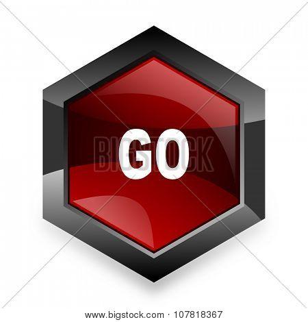 go red hexagon 3d modern design icon on white background