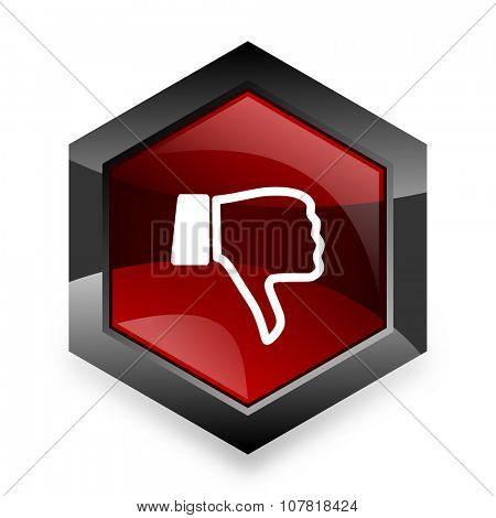 dislike red hexagon 3d modern design icon on white background
