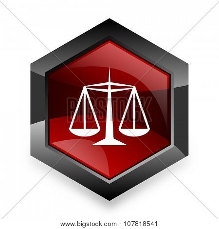 justice red hexagon 3d modern design icon on white background