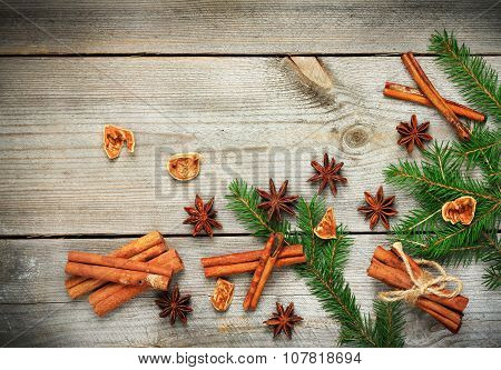 Christmas Decoration With Fir Tree And Spices