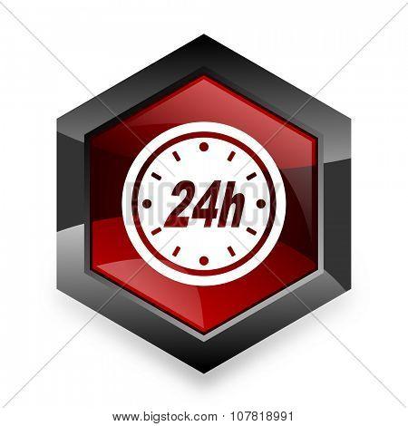 24h red hexagon 3d modern design icon on white background