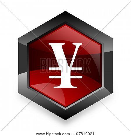yen red hexagon 3d modern design icon on white background