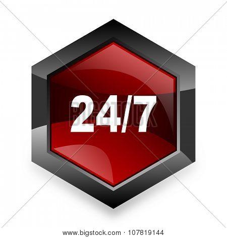 24/7 red hexagon 3d modern design icon on white background