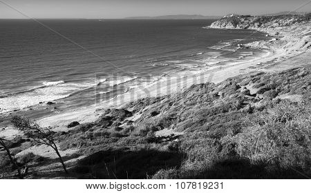 Gibraltar Strait, Morocco. Black And White Photo