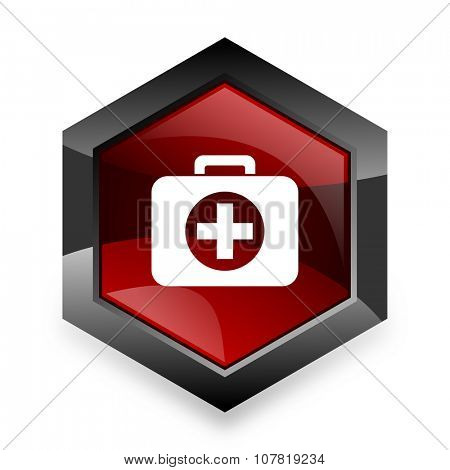 first aid red hexagon 3d modern design icon on white background