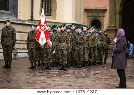 KRAKOW, POLAND - NOV 11, 2015: Unidentified participants celebrating National Independence Day an Republic of Poland - is a public holiday, celebrated every year from 1918 year.