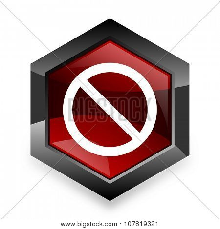 access denied red hexagon 3d modern design icon on white background
