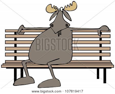 Moose sitting on a park bench